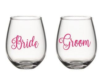 Wedding Glasses, Bride and Groom Glass, Wifey and Hubs Glass, Stemless Glass, Wedding Wine Glass, Wedding Gift, Couples Gift, Bride Glass