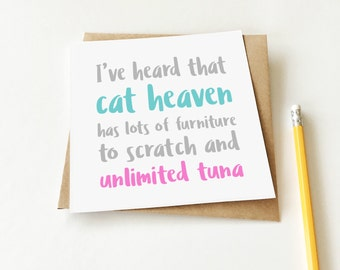 Cat Heaven Card, Loss of a Pet card, Sorry Card, Sympathy card