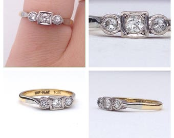 Antique ~Vintage ~ Art Deco ~ 18ct Gold and Platinum ~ Diamond ~ three stone trilogy ~ Ring ~ Size M / 6.25 US / 52.25 France