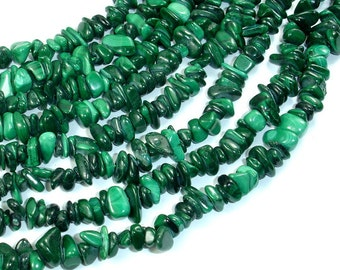 Natural Malachite Beads, Approx 4mm-9mm Pebble Chips Beads, 16 Inch, Full strand, Hole 0.8mm (312005001)
