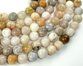 Bamboo Leaf Agate, 10mm (10.3 mm) Round Beads, 15.5 Inch, Full strand, Approx 38 beads, Hole 1mm (131054001)