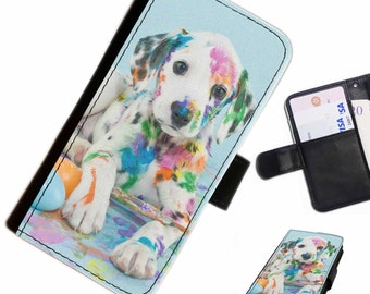 Dogb 14 Paint Pup custom Leather PU wallet phone case for Samsung, LG, Motorola, Sony, Google, Huawei, Alcatel with card slots, money slots