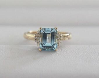 14K Yellow Gold Ring 7x9mm Emerald cut Aquamarine Ring Diamond Wedding Ring Aquamarine Engagement Ring Aquamarine Birthstone Jewellery
