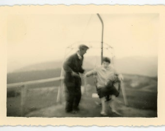 Vintage photo 'Blurry Chair Lift Situation' - motion couple man woman vernacular photo snapshot black and white