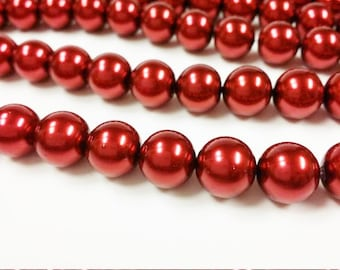 Dark red glass pearls 12mm