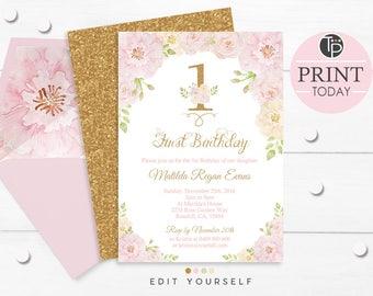 GIRL 1st BIRTHDAY INVITATIONS, Floral 1st Birthday Invitation, Instant Download, Pink and Gold 1st Birthday Invitation, First Birthday, 0201