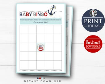 NAUTICAL BINGO GAME, Instant Download Baby Shower Game, Nautical Baby Shower Bingo, Anchor Baby Shower, Bingo, Nautical Baby Shower Games