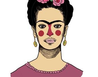 Ilustración 'mi Fridita'. Frida Kalho. Lámina de decoración. Ilustración. Hogar. Dibujo. Fan art. Personaje Famoso. Frida. anduluplandu