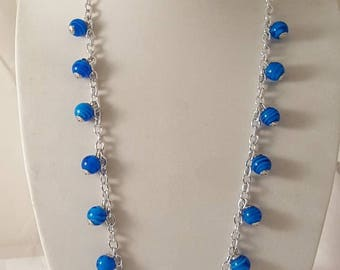 Blue & Silver Jewelry Set- Blue Necklace - Blue Earrings - Blue Bracelet - Chain Jewelry Set - Blue Jewelry - Dangle Necklace - Blue Jewelry