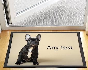 "24 X 16 "" Custom Text French Bulldog Design Entrance Door Mat Non Slip Advertising Tool For Home Or Business"