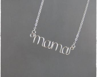 mama Wire Word Pendant Necklace