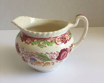 Vintage Creamer, Johnson Brothers, Winchester Pink China, Rope Edge  discontinued, Gadroon, Pink Flowers, Green Scrolls