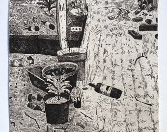 Trashed (pot plants) - etching