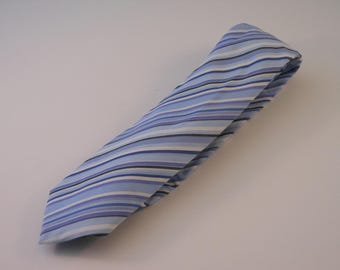 Blue and White Multistriped Cotton Necktie