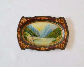 Antique Souvenir Tray Mountains Possible Clarence Isacke