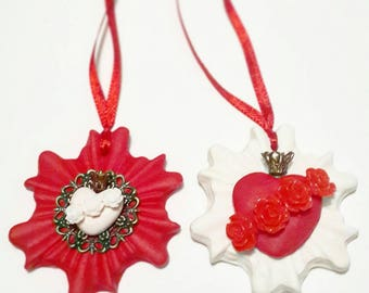 Set of two handmade Sacred Heart Milagro ornament, Red + White, Immaculate Heart