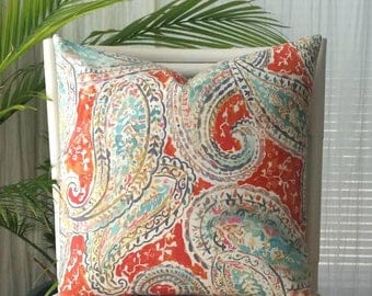 Kelly Ripa Bright and Lively Modern Paisley Linen Pillow Cover - coral, teal, aqua, gray, gold, pink, cream