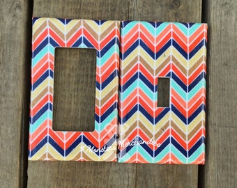 Modern Chevron light switch cover,  chevron room decor, chevron home decor, playroom decor