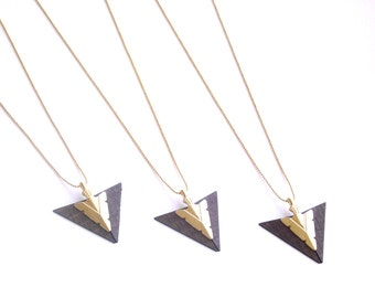 Arrow necklace, Long arrow jewelry, Wood arrow pendant, Everyday jewelry, Gold and wood arrow pendant, Gold plated chain, Triangle pendant