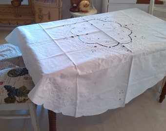 Vintage Ribbon embroidery tablecloth large