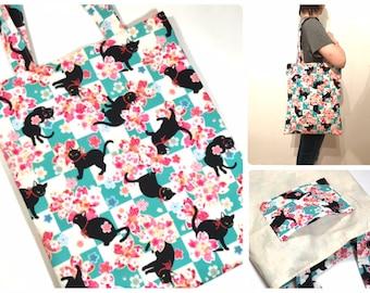 Black Cat Tote bag, Cat lover gift, Shoulder bag, Shopping Bag, Library bag, Book bag, market bag, gift for mom, cherry blossom, Japan print