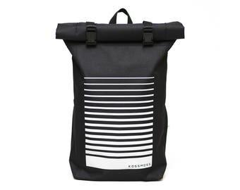 Black Backpack  / Roll Top Backpack / Messenger Bag / Reflective RollTop Backpack