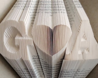 Folded Book Art, Folded Book, Paper Anniversary, 1st Anniversary Gift, Book Folding Anniversary, Wedding Anniversary, Personalized Gift