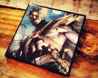 Hawkman, ceramic, tile, comic book, drink, coaster, Carter Hall, Khufu, DC comics