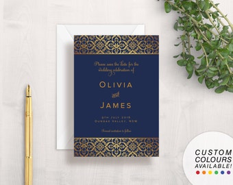 Navy Blue & Gold Save The Date Wedding Card | Printable Save The Date | Damask Save The Date | Elegant Save The Date | Floral Save The Date