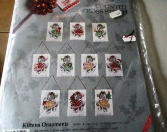 Counted Cross Stitch Kit Set Of 10 Kitten Ornaments By Something Special Candamar Designs Model  # 50509