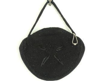 60s black beaded clutch bag, small evening bag, mad men 1960s minimalist bead bag, made in czechoslovakia, beaded handbag beaded purse