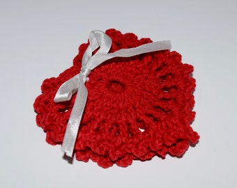 Red Crochet Coaster Set Valentines Day Gift Heart Shape Coaster