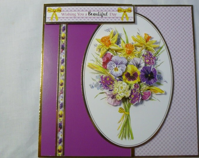 Spring  Flowers Birthday Card, Greeting Card, 3D Decoupage, Purple and Pink, Mum, Mother, Sister, Daughter, Niece, Aunt, Friend