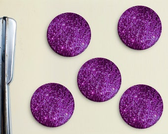 Glitter Magnets - Purple, Magenta, Pink, Girly, Office, Organization, Home Office, Refrigerator, Fridge, Glitzy, Locker Magnet, Organize