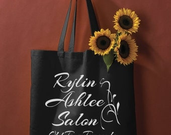 Custom Tote Bag, Reusable Grocery Bag With Your Business Logo, Family Name, Monogram, or Quote, Black and White Bag