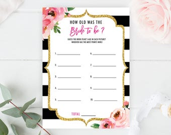 Spade Bridal Shower Game Printable, How Old Was the Bride to Be Game, Spade Theme Bridal Games, Guess the Bride's Age, Kate Wedding Shower