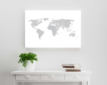 Rustic world map etsy silver gray distressed rustic world map wanderlust travel scandinavian style wall art and gumiabroncs Image collections