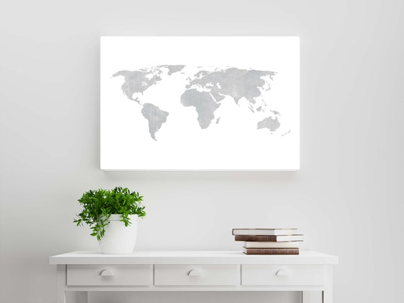 Silver gray distressed rustic world map wanderlust travel silver gray distressed rustic world map wanderlust travel scandinavian style wall art and home decor shabby chic cottage style poster gumiabroncs Gallery