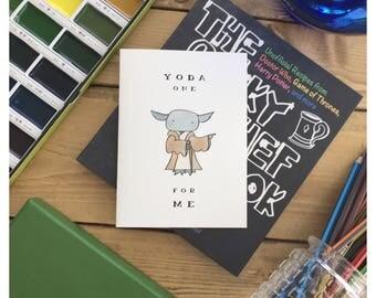 Yoda Card // Star Wars card, Star Wars greeting card, star wars, Star Wars pun, yoda, yoda pun, punny, pun card, funny starwars card, fandom