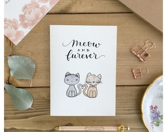 WEDDING CARD // funny wedding card, wedding cat card, cat card, now and forever, card for bride, for her, greeting card, bride and groom