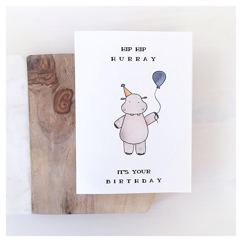 Hippo Card birthday card birthday greeting card funny – Funny Birthday Card Puns