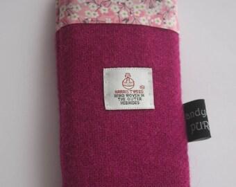 Harris Tweed Deep Pink Mobile Cosie with Liberty of London Mitsi Valeria Print Fabric Lining