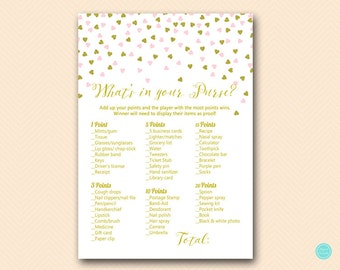 Pink and Gold Bridal Shower Games, Bridal Shower Whats in your Purse Game, Purse Raid, Purse Hunt Game, Bridal Shower Game, BS488 TLC488M