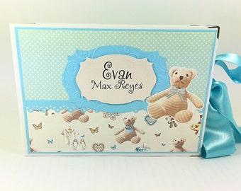 Baby Boy Memory Book, Baby Scrapbook Album, Personalised Baby Photo Book, Baby Boy Photo Album, Baby's First Year Book, Keepsake Album