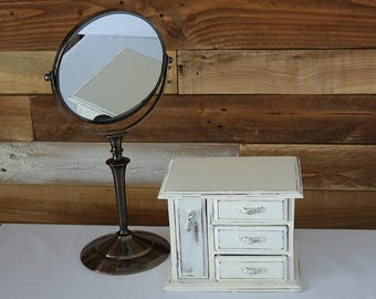 Vintage vanity mirror - Round table mirror - Make up magnifying mirror - Two sides mirror