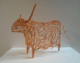 Copper Highland Cow Sculpture.