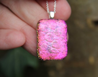 Pink textured dichroic glass pendant, dichroic glass necklace, fused glass,  fused glass pendant, dichroic necklace , pink  dichroic,