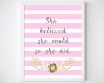 Nursery Decor,She Believed She Could So She Did Wall Art, She Believed Print, Nursery Printable,  Nursery Art, Baby Shower Gift,