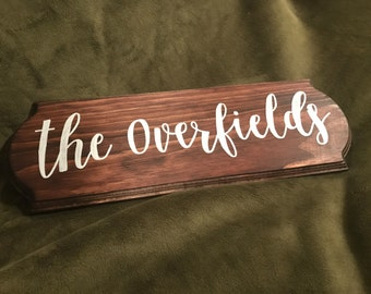 Acrylic on Stained Wood Family Name Sign