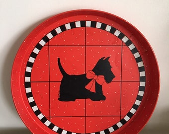 Adorable red & black Scottie dog round tray. Department 56.